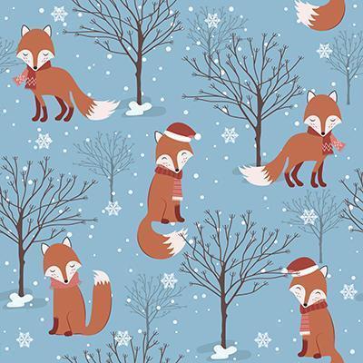 Blaues Winter-Weihnachtsnahtloses Muster mit Fuchs vektor