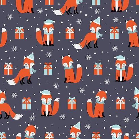 Weihnachtsnahtloses Muster mit Fuchs und Geschenken vektor