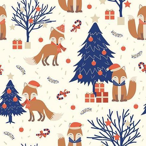 Weihnachtsnahtloses Muster mit Fuchs vektor