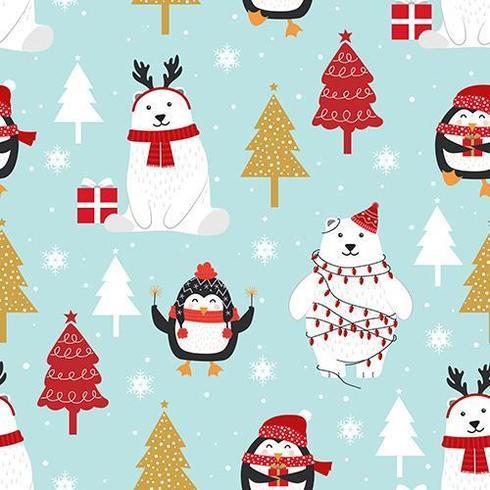 Weihnachtsnahtloses Muster mit Eisbären und Pinguin vektor