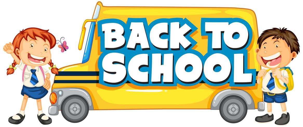 Tillbaka till skolmallen med skolbuss och barn vektor