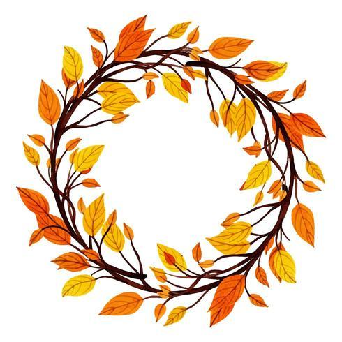 Vacker akvarell Autumn Leaves Frame vektor