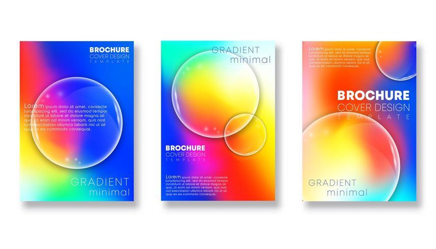 Farbverlaufs-Cover-Vorlagen mit transparentem Linsendesign vektor