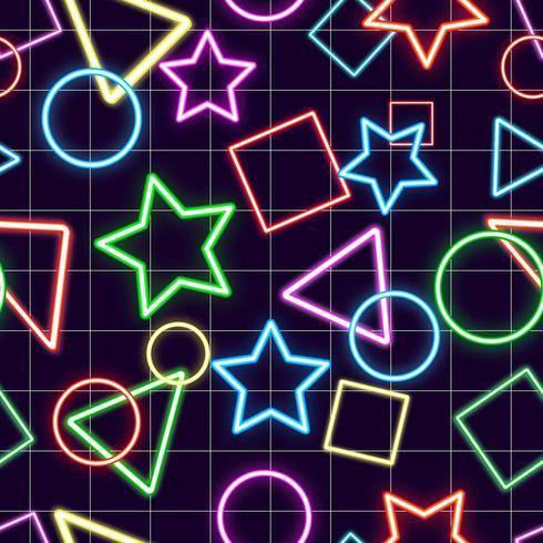 Sömlös modellbakgrund med olika geometriska former neon design vektor