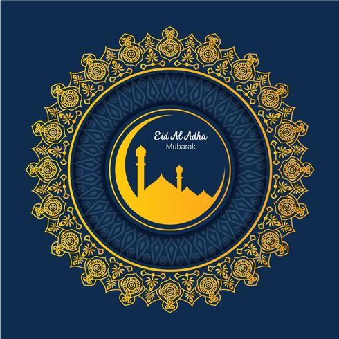 Islamisk pilgrimsfärd för Eid-Al-Adha hälsningar vektor