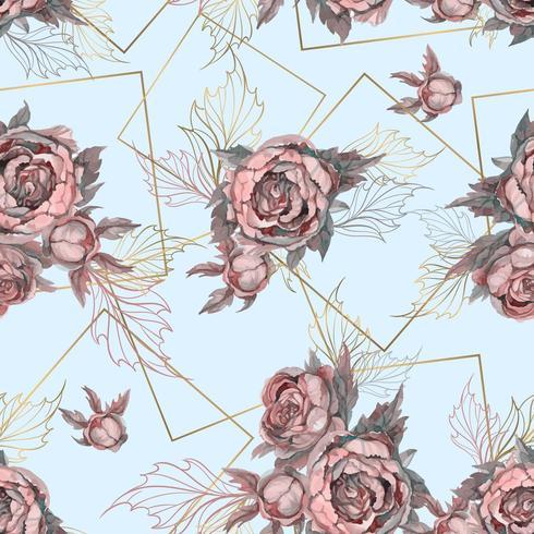 Seamless mönster med buketter av akvarell blommor. vektor