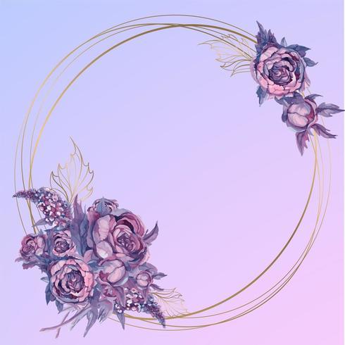 Runder Goldrahmen mit einem Blumenstrauß von Aquarellblumen vektor