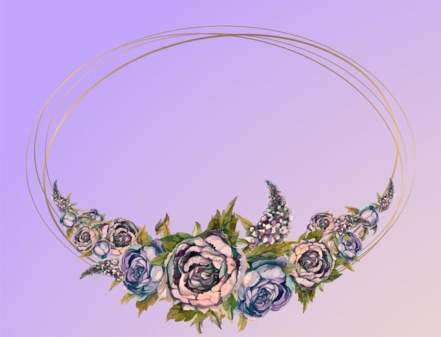 Oval guldram med rosa akvarellblommor. vektor