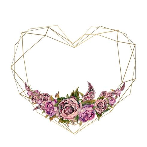 Ramen är hjärtat i akvarellblommor. Valentine, bröllopsinbjudan. vektor