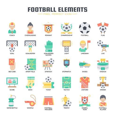 Fotbollelement tunn linje ikoner vektor
