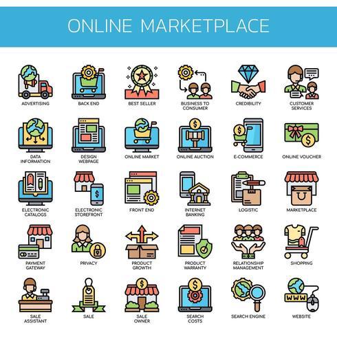 Online Marketplace tunn linje färgikoner vektor
