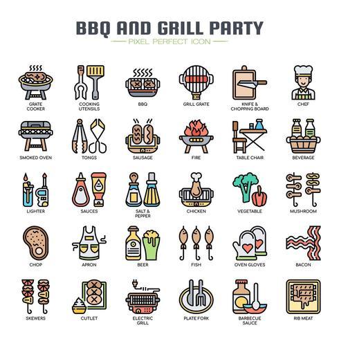 BBQ och Grill Party tunn linje ikoner vektor