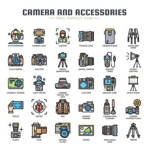 Kamera och tillbehör tunn linje färgikoner vektor