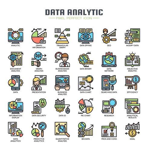 Data analytiska tunn linje ikoner vektor