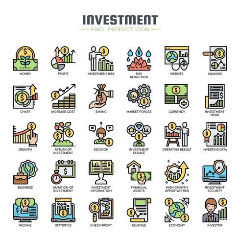 Investeringselement tunn linje ikoner vektor