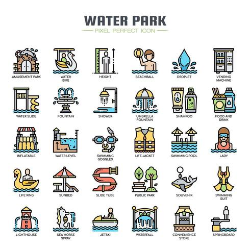 Water Park tunn linje ikoner vektor