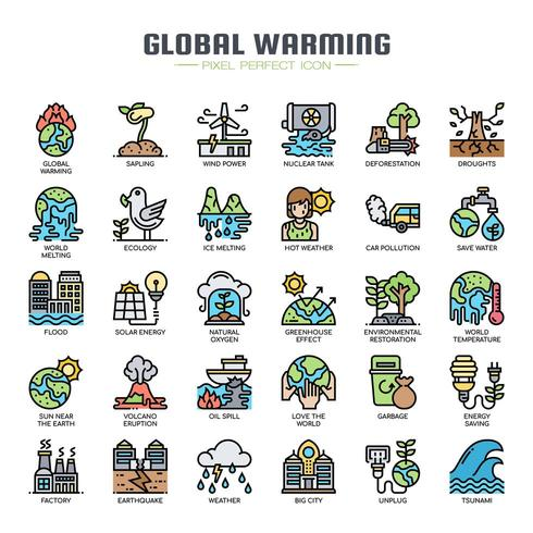 Global uppvärmning tunn linje ikoner vektor