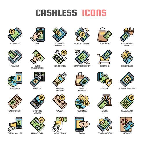Cashless tunn linje ikoner vektor
