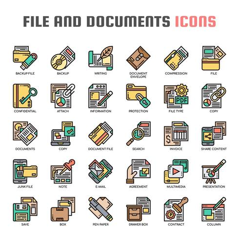 Datei und Dokumente Thin Line Icons vektor