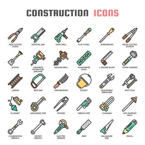 Konstruktionsverktyg tunn linje ikoner vektor