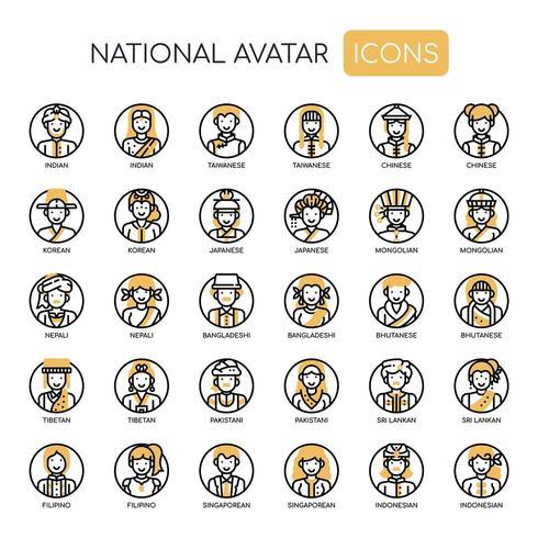 Nationella Avatar tunn linje monokroma ikoner vektor