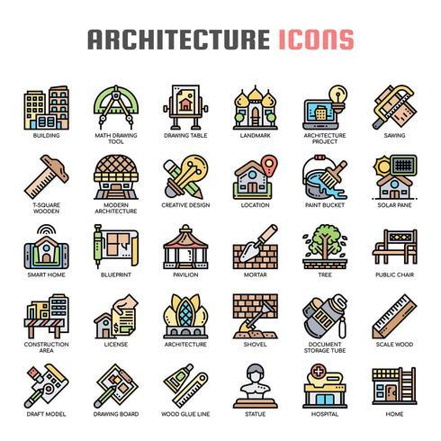 Arkitektur tunn linje ikoner vektor