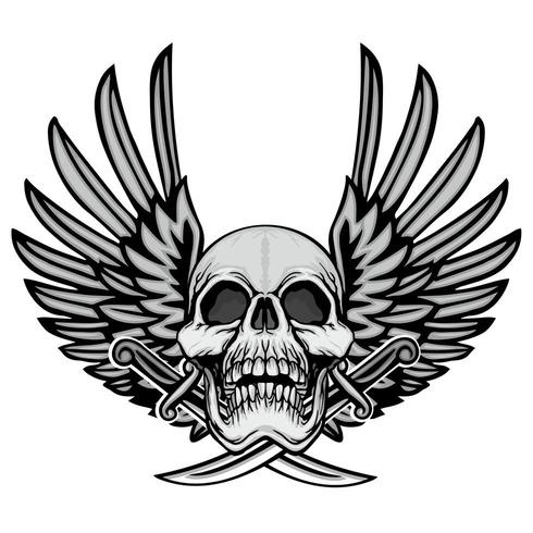 grunge skalle vapen med vingar vektor