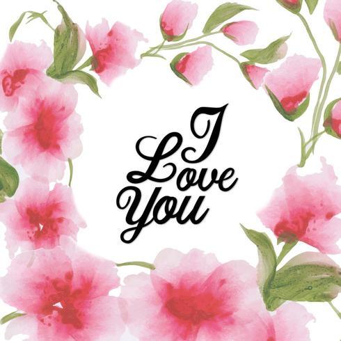Akvarell Floral Valentine Jag älskar dig bakgrund vektor