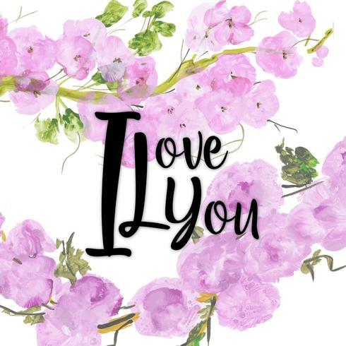 Akvarell Floral Valentine Jag älskar dig vektor