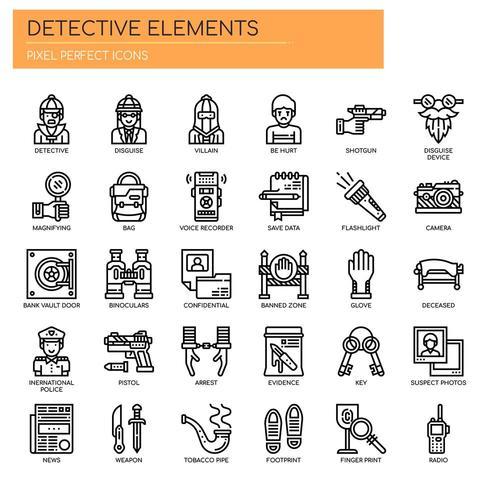 Detektivelement tunn linje ikoner vektor