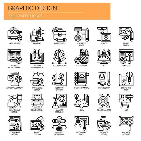 Grafisk design tunn linje ikoner vektor