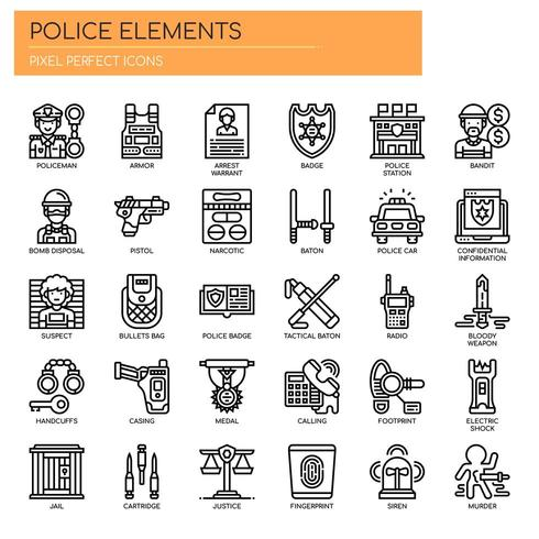 Polizei Elemente dünne Linie Icons vektor