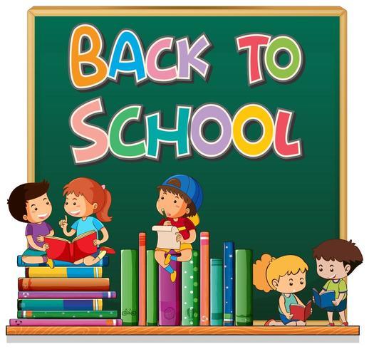 Tillbaka till skolmallen med elever och böcker på svarta tavlan vektor
