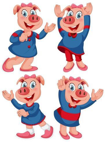 Lyckligt gris i mänskliga poser vektor