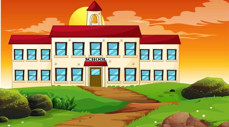 Skolbyggnad solnedgång scen vektor