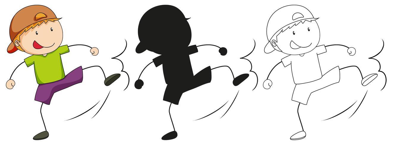 En uppsättning pojke som sparkar i färg, kontur och kontur vektor