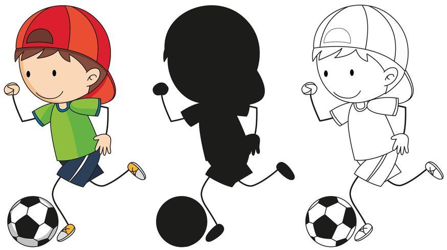 En uppsättning pojke som sparkar fotboll i färg, kontur och kontur vektor