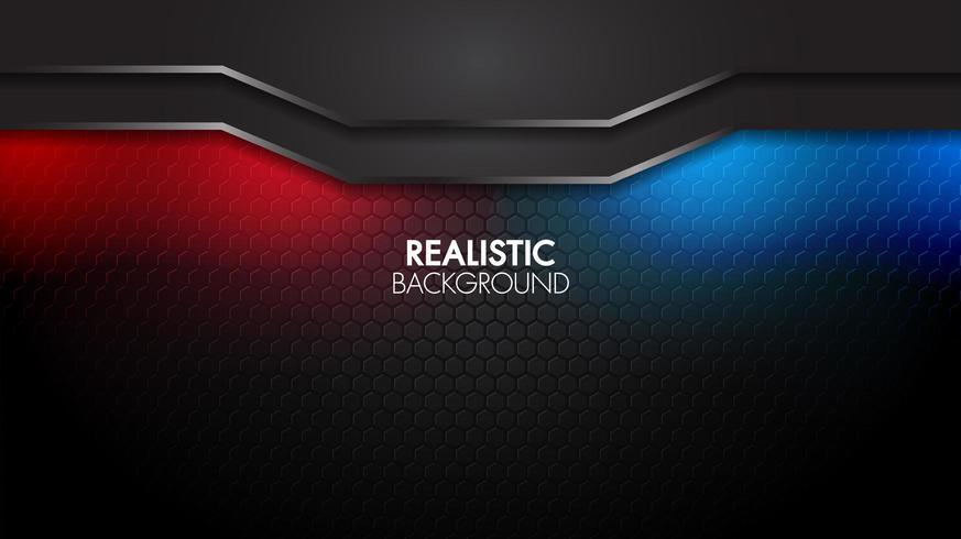 Svart geometrisk bakgrund med futuristiskt glansigt rött och blått ljus vektor