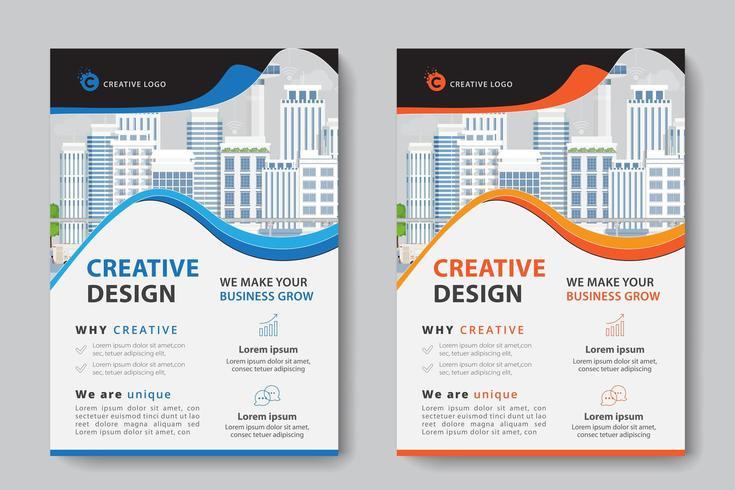 Blå och orange vågig utklipp företags affärsmall vektor