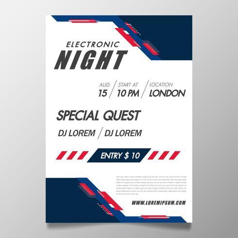 Musikfestivalsaffischmall nattklubbfestreklamblad med bakgrund vektor