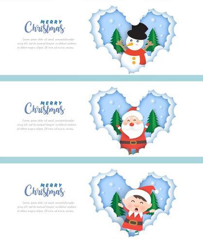 Uppsättning av julbaner med älven, jultomten och snögubben vektor