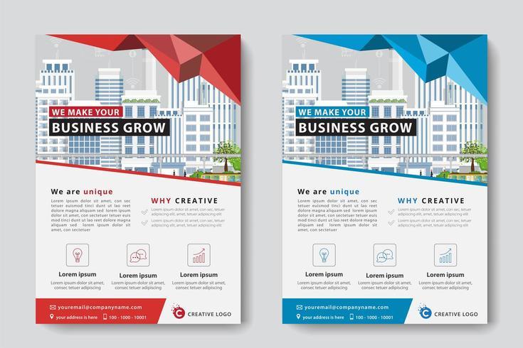 Röd och blå geometrisk företags affärsmall vektor