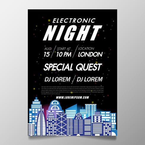 Musikfestivalsaffischmall nattklubb-flygblad med svart bakgrund vektor