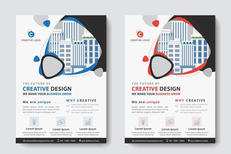 Blaue und rote gerundete Dreieck-Ausschnitt-Firmenkundengeschäft-Schablone vektor