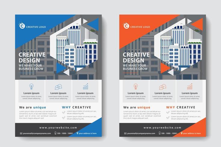 Blå och orange vinklad utklipp företags affärsmall vektor