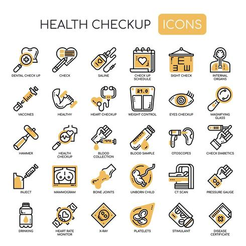 Hälsokontroll tunn linje svartvita ikoner vektor