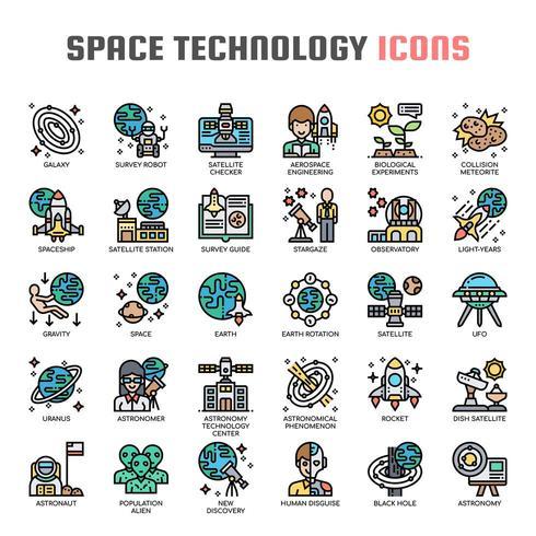 Astronautik teknik tunn linje ikoner vektor