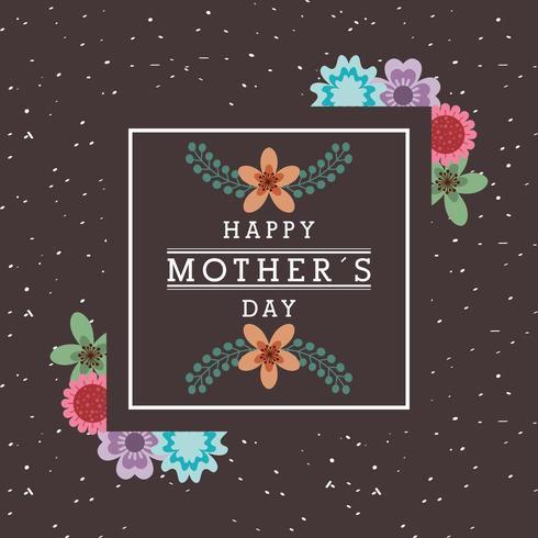 mors dagskort med blommig design och inbyggd fyrkant med text vektor
