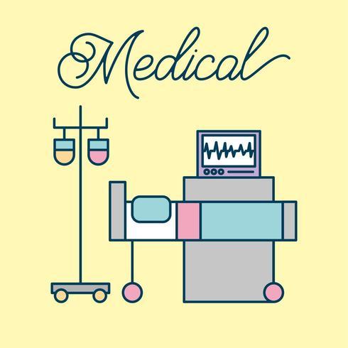 medicinsk säng iv stativ och övervakningsmaskin vektor