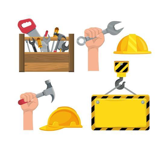 Ställ in konstruktionsboxverktyg och hand med hammare vektor